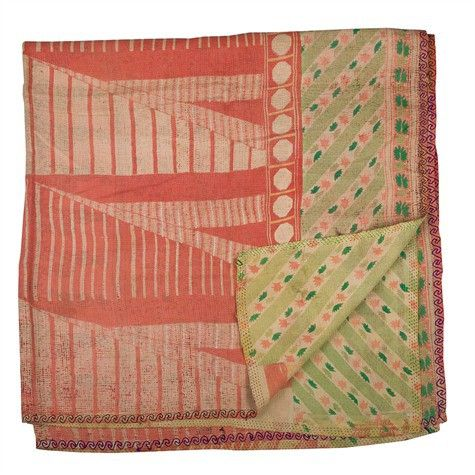 kantha quilt made from vintage saris