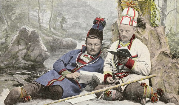 two 19th century sami men reading